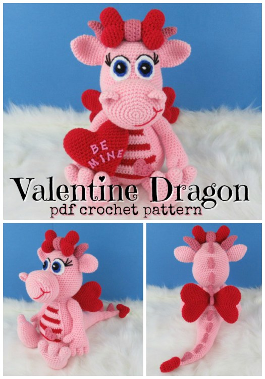 Adorable crochet pattern for this sweet Be Mine amigurumi valentine dragon. Love all these valentines day amigurumi ideas! #crochet #pattern #valentinesday #amigurumi #dragon #stuffedtoy #handmadetoys #handmadegifts #yarn #crafts #craftevangelist