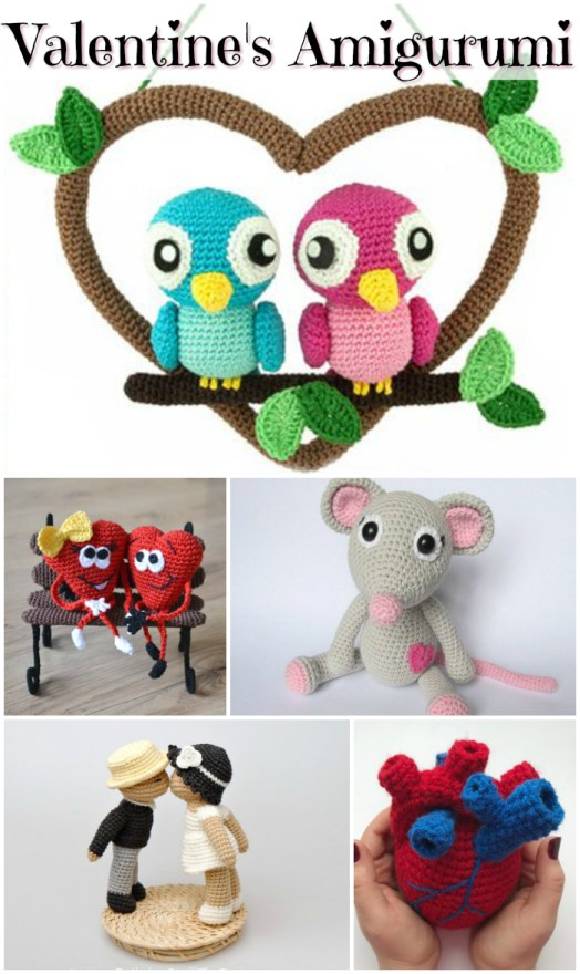 Valentine's Day  Amigurumi! Check out these adorable and sweet crochet patterns for these lovely stuffed toys! Would be great handmade Valentine's Day gifts! #amigurumi #patterns #crochet #toys #handmadetoypatterns #crochetpatterns #amigurumipatterns #valentinesday #yarn #crafts #craftevangelist