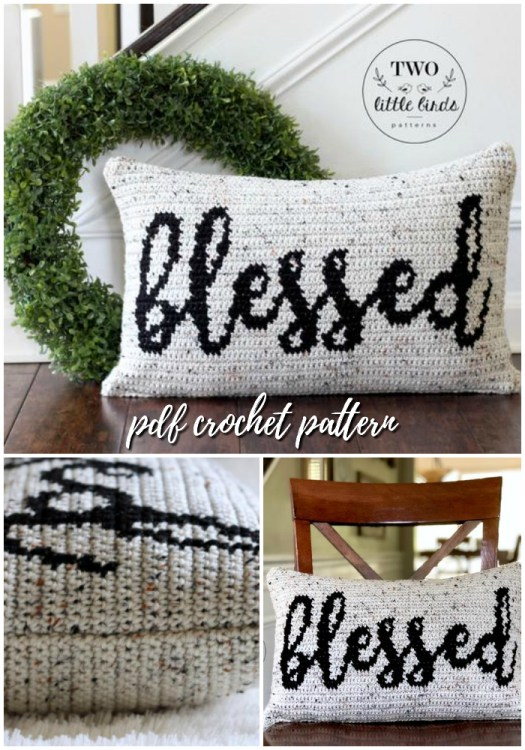 "Sweet farmhouse style rustic crochet pattern for this ""blessed"" pillow in a bouncy script. Such a fun throw cushion for a family room. #crochet #pattern #crochetpattern #crochetdecor #decor #handmade #pillow #crafts #yarn #craftevangelist"