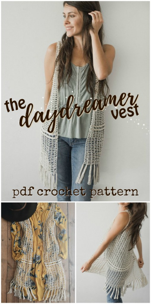 Love this long boho daydreamer vest crochet pattern! Perfect accessory for festival life! Love the fringe! #crochet #vest #pattern #crochetpattern #crochetforwomen #crochetclothes #diy #yarn #crafts