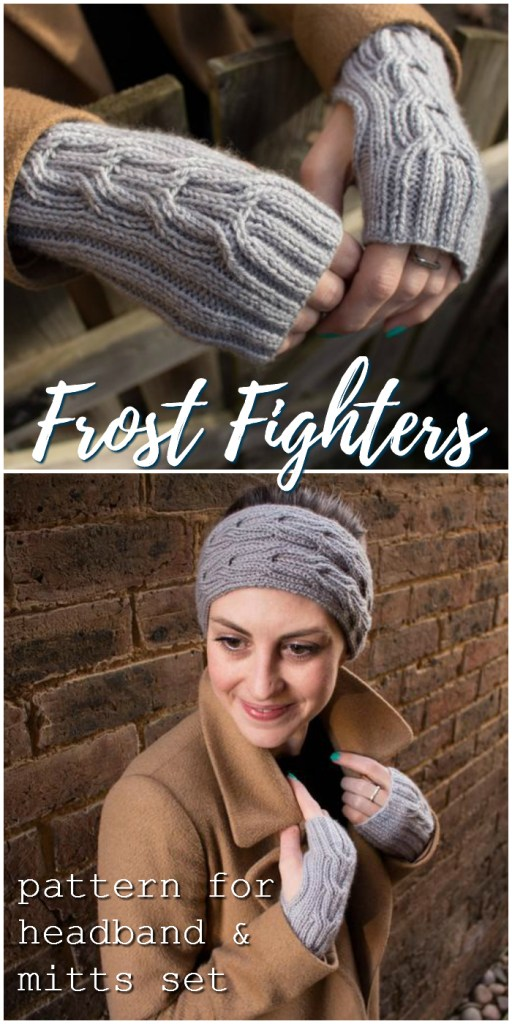 Sweet and simple cable-knit hand warmers and ear warmers knitting pattern. Perfect to keep that chill off in the office or in the fall! Love the gorgeous classic look of this set! #knitting #pattern #knittingpattern #fingerlessgloves #fingerlessmittens #earwarmer #headband #yarn #crafts #warmth #craftevangelist