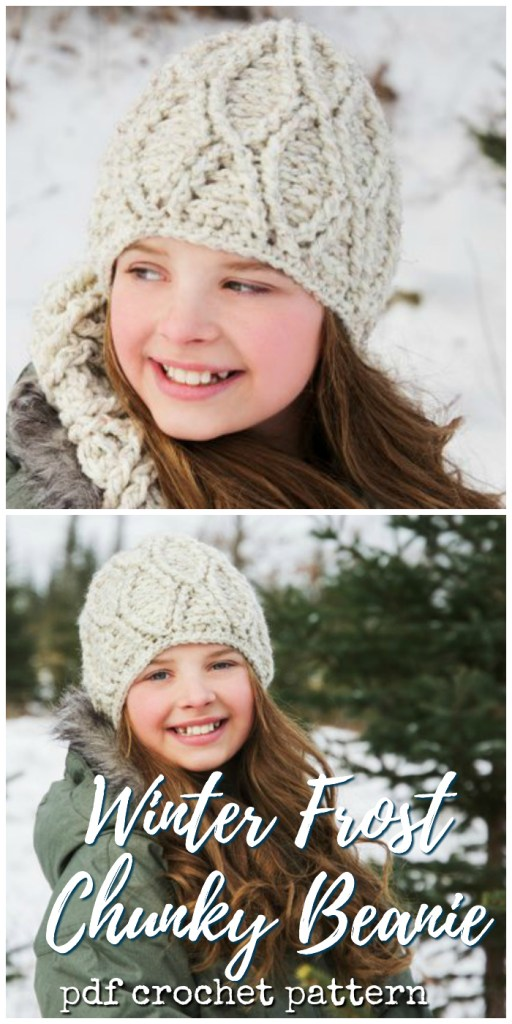 "Adorable textured crochet pattern for this chunky ""Winter Frost"" Beanie! I love this adorable pattern! It looks so warm and toasty! #crochet #pattern #crochetpattern #hatpattern #crochethat #crochethatpattern #crochetbeanie #crochettoque #beaniepattern #toquepattern #yarn #crafts #craftevangelist"