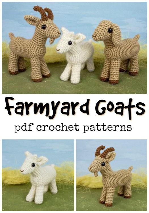 Cute little collection of amigurumi farmyard goats crochet pattern! Perfect for a whole farm animal collection! #crochet #amigurumi #pattern #crochetpattern #amigurumipattern #yarn #crafts #handmadetoys #handmadestuffedanimals #stuffedanimals #handmadegiftideas #craftevangelist