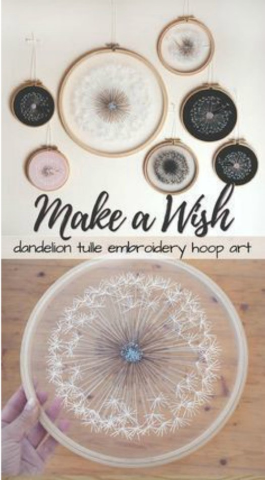 So cool! These dandelion embroidery hoop art pieces are amazing! I wonder if I could make one myself?! Such a great idea! #crafts #embroidery #giftideas