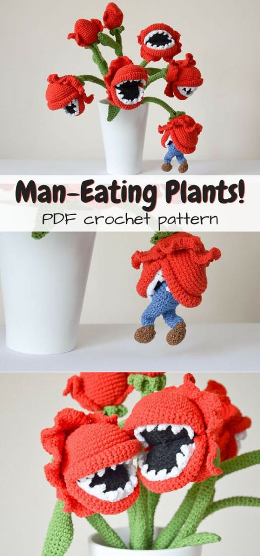 Oh wow! So FUN! Bouquet of man-eating plants crochet pattern! With a little man being eaten! How awesome is this amigurumi pattern!?! #crochet #pattern #crochetpattern #yarn #crafts #amigurumi #decor #funny #plants #maneatingplants #craftevangelist