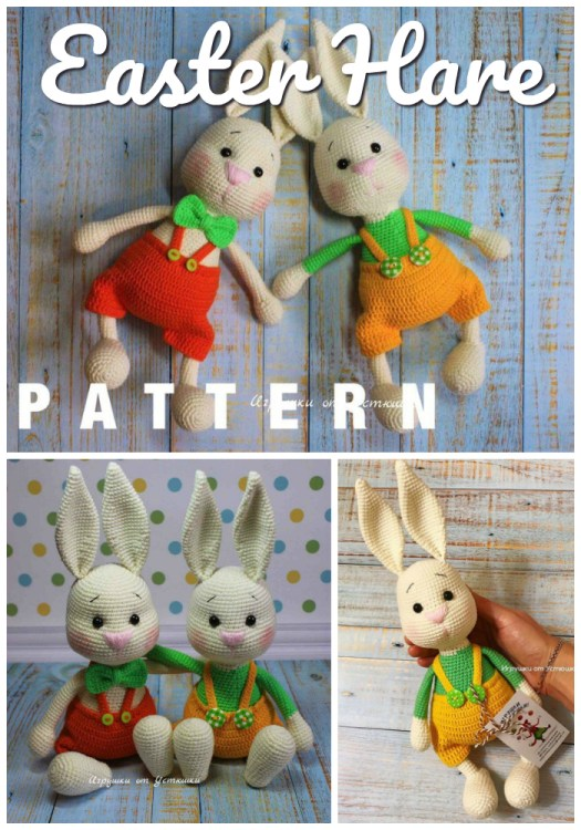 Cute Easter Bunny pattern with sweet little overall shorts! Perfect handmade crochet stuffed toy to make for a loved one this spring #crochet #pattern #amigirumi #yarn #crafts #amigurumipattern #crochetpattern #handmadetoys #craftevangelist