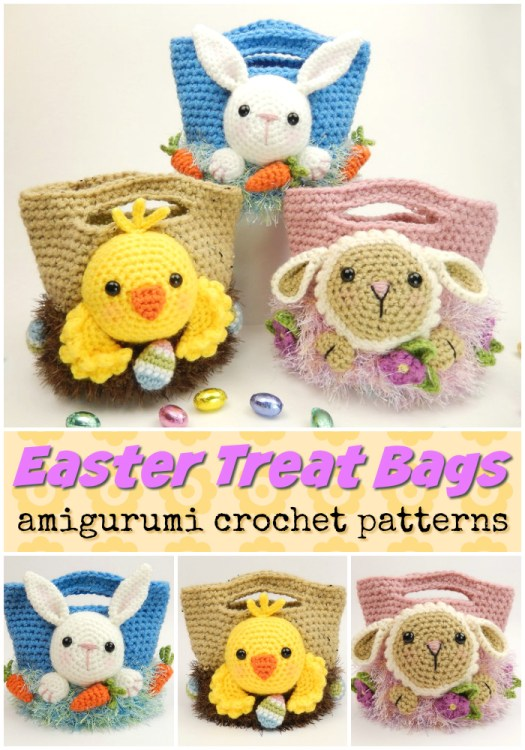 Fun amigurumi embellished Easter treat bags crochet pattern. Perfect Easter basket for the grand kids! #crochet #pattern #amigirumi #yarn #crafts #amigurumipattern #crochetpattern #handmadetoys #craftevangelist