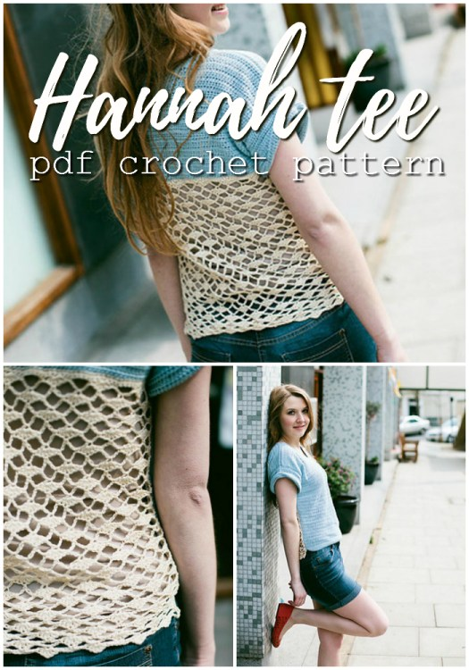 Super pretty crocheted t-shirt pattern! Love the lacy open back on this Hanna tee! Perfect summer crochet project! #crochet #pattern #crochetpattern #crochetclothes #tshirt #yarn #crafts #craftevangelist