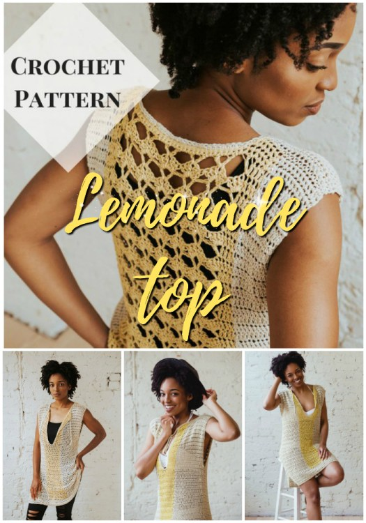 Lemonade top crochet tunic pattern, makes a great long top or beach cover up. So sweet. I love the lacy back and the tie front! #crochet #pattern #BIPOCdesigners #yarn #crafts #crochetpattern