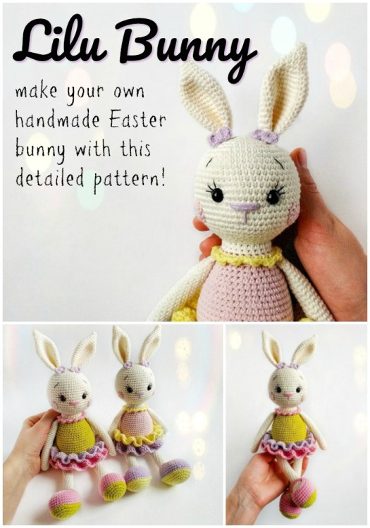 Adorable ballerina crochet bunny pattern. Lilu! What a sweet name for this girly rabbit amigurumi crochet pattern! Can't wait to make her for Easter! #crochet #pattern #amigirumi #yarn #crafts #amigurumipattern #crochetpattern #handmadetoys #craftevangelist