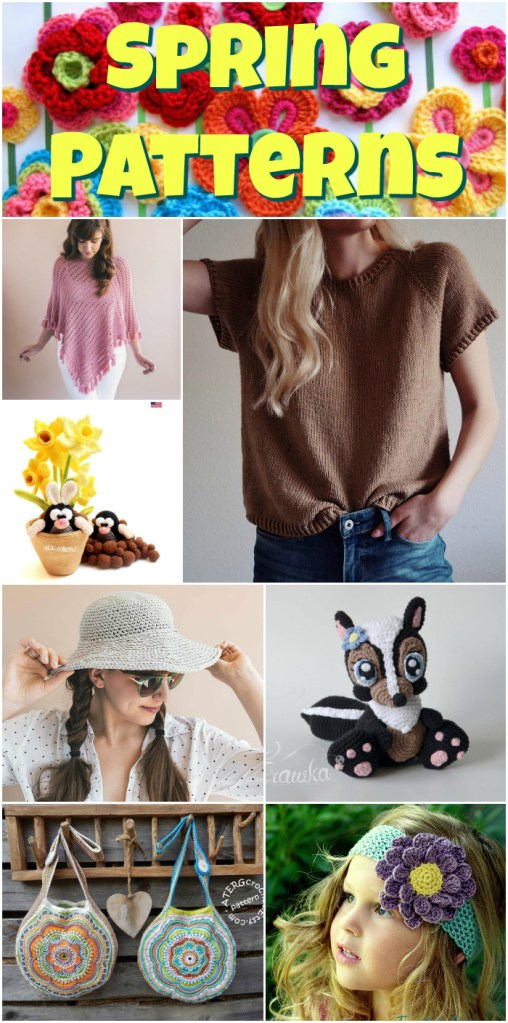 Eight great knit and crochet patterns to encourage spring to hurry up and get here! I love the adorable daffodils and moles amigurumi pattern!