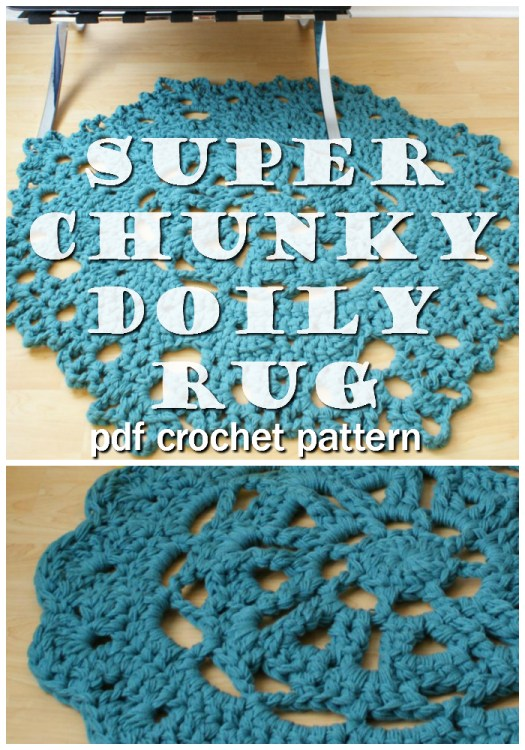 Love this super fun super chunky doily rug crochet pattern! It looks great in this blue, but it would also be adorable and classic in white! #crochet #pattern #crochetpattern #yarn #crafts #doily #doilyrug #diy #craftevangelist