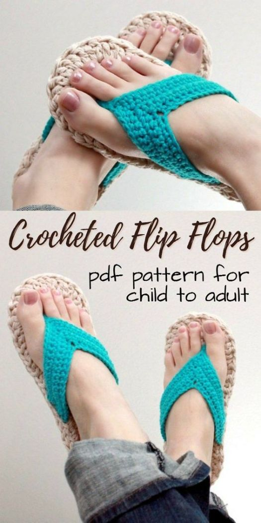 Cute and simple crochet pattern for crocheted flip flops in sizes 3-10. Make them for the whole family! One of my favourite crocheted slipper patterns! #crochet #pattern #crochetpattern #yarn #crafts #slippers #flipflops #thongs #crochetedshoes #craftevangelist
