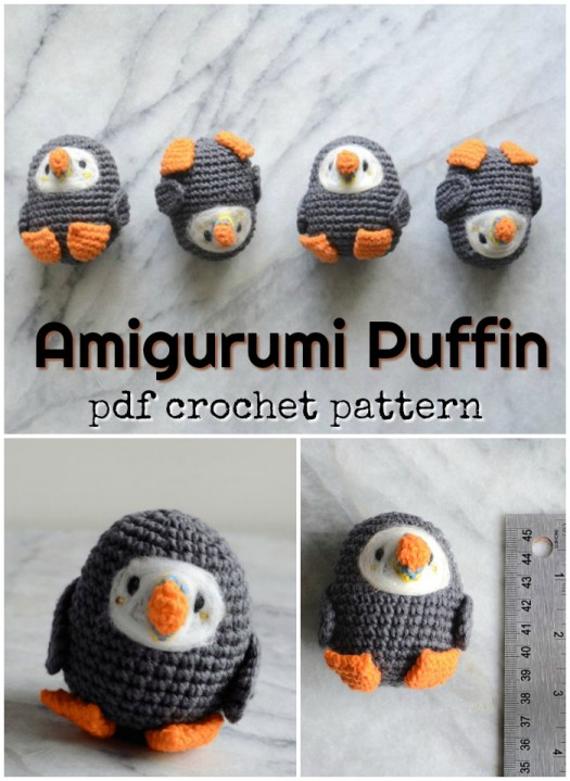 Miniature amigurumi puffin crochet pattern. Perfect little quick handmade stuffed toy to put in Easter baskets! Soooo cute! Kids will love these! #amigurumipattern #amigurumi #crochetpattern #crochet #pattern #yarn #crafts #handmadestuffies