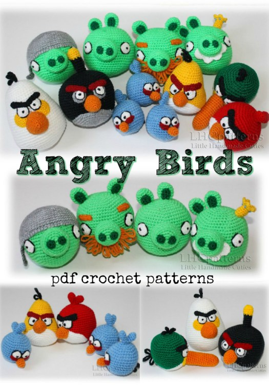 Angry Birds amigurumi stuffed crocheted toys. A fun handmade gift for kids! These would be great in Easter baskets! Kids would love them! #crochet #amigurumi #crochetpattern #amigurumipattern #angrybirds #birds #yarn #crafts