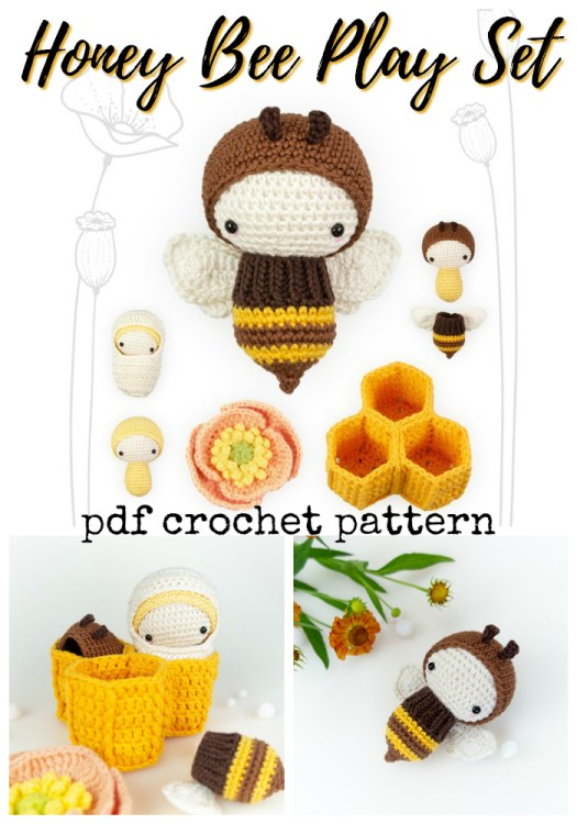 Unique and interactive Honey Bee Play Set crochet amigurumi pattern with the whole bee life cycle! Fun handmade gift idea for a beekeeper! #crochet #pattern #amigurumi #amigurumipattern #crochetpattern #yarn #crafts #honeybee #bee #craftevangelist