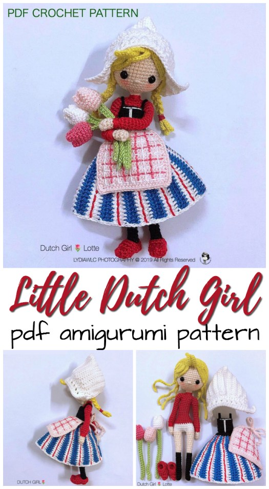Sweet little Dutch Girl amigurumi doll! I love her removable clogs and the tulips, the dress! the apron! Everything! So cute!!! #amigurumi #pattern #amigurumiday #yarn #crafts #amiday #diadoamigurumi