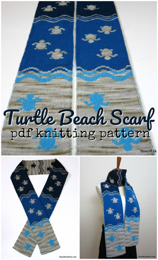 Pretty double-knitting pattern for this Turtle Beach Scarf! Super cute! #knitscarf #knittingpattern #knitting #pattern #scarfpattern #yarn #crafts #craftevangelist
