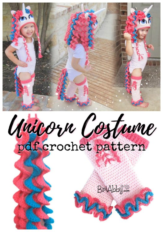 Adorable crochet pattern for this complete unicorn costume! Fun little hat, leggings and tail for your little one to dress up as a unicorn! Perfect handmade gift idea! #crochet #pattern #crochetpattern #crochethat #unicornhat #crochetunicorn #yarn #crafts #toddlercostumes #craftevangelist