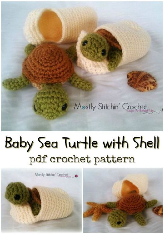 Sweet little Baby Sea Turtle with Shell amigurumi crochet pattern! Love this adorable little toy set! #crochet #pattern #amigurumipattern #crochetpattern #yarn #crafts #craftevangelist