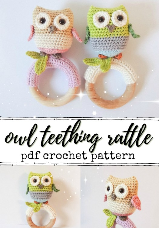 Super sweet little owl teething ring crochet pattern! This would make a lovely handmade baby shower gift! #amigurumi #baby #rattle #teethingring #handmade #crochet #crochetpattern #amigurumipattern #babycrochet #yarn #crafts #birds #owls