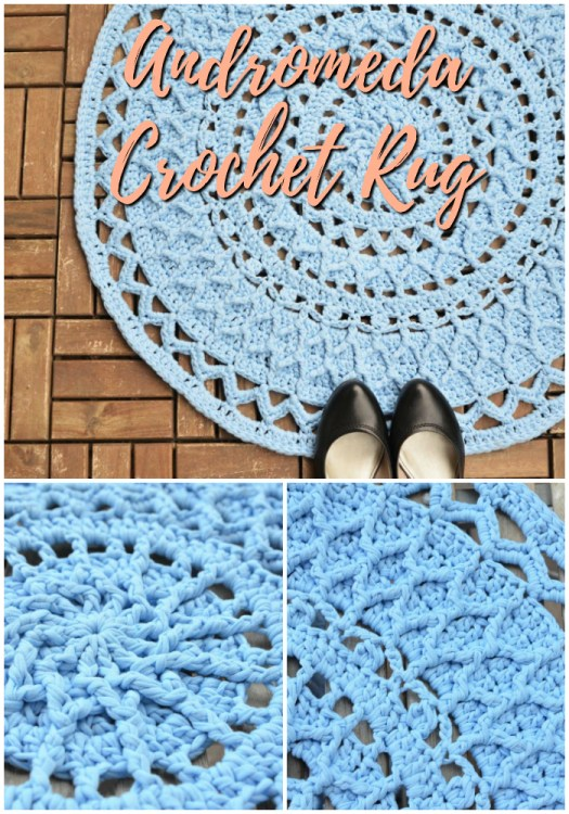 Lovely Andromeda Crocheted Rug pattern with crochet cables! I love the stunning detail on this tshirt rug crochet pattern! #crochetpattern #mandalapattern #crochetmandala #crochetrug #yarn #crafts #etsy #craftevangelist