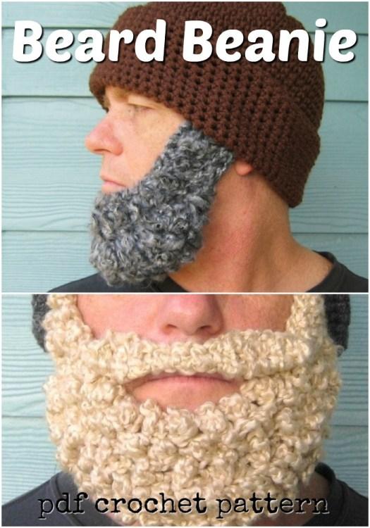 Fun beard hat crochet pattern. Simple beanie pattern with a fun beard! Would make a great Father's Day gift! #crochet #pattern #crochetpattern #yarn #crafts #hats #crochethat #crochetbeard #beard #handmadegifts #crochetformen #craftevangelist