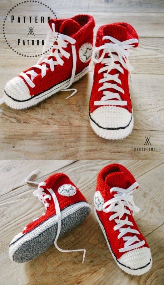I love these fun Converse-inspired high top sneakers slippers! These would make a fun pair of slippers for a sneaker-loving guy! Great Father's Day gift idea! #crochet #pattern #crochetpattern #yarn #crafts #slippers #sneakers #crochetedslippers #Converse #FathersDay #handmadegifts #crochetformen #craftevangelist