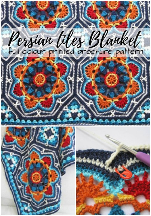 Gorgeous Persian Tiles Blanket full colour printed brochure pattern! Love this gorgeous crochet blanket pattern! And it's so nice to have a printed full color pattern! #mandala #crochet #pattern #crochetpattern #blanket #yarn #crafts #craftevanelist