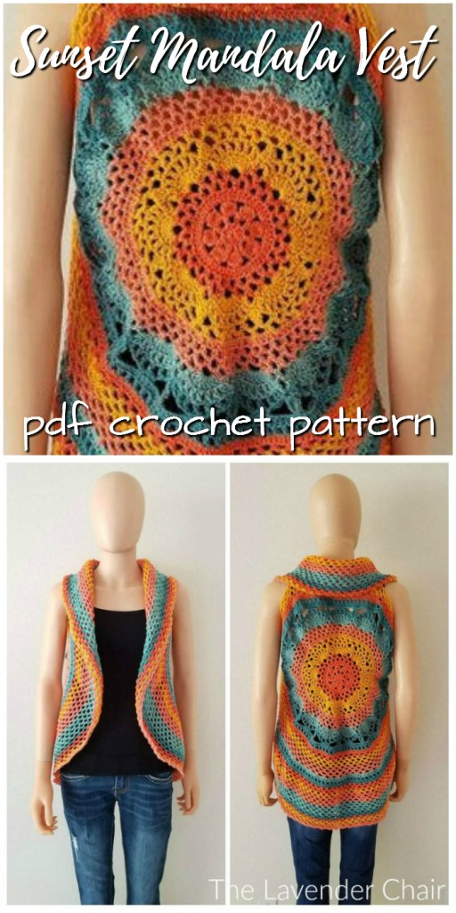 Pretty sunset crochet mandala vest pattern! What a fun vest pattern! I'm loving mandalas lately! Gorgeous! #crochet #pattern #crochetpattern #crochetvest #yarn #crafts #mandala #mandalapattern #etsy #craftevangelist