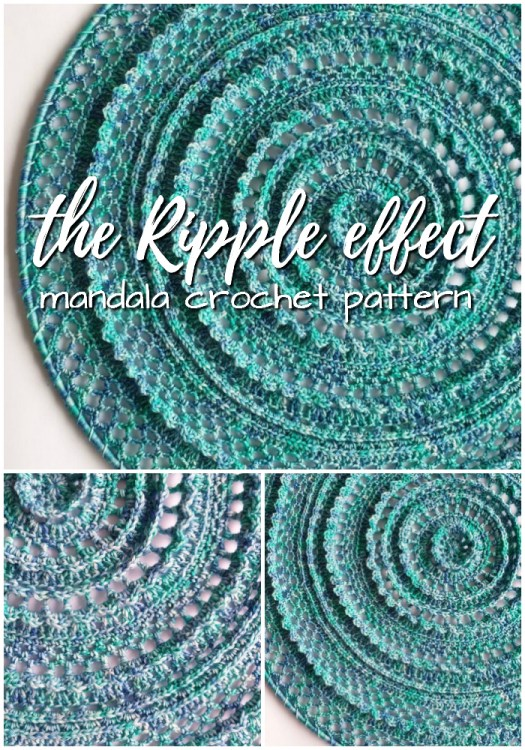 The Ripple Effect mandala crochet pattern! I love this one mounted on a circular frame to hang on the wall! Makes great decorative art to display your craft! Fantastic gift! #crochet #crochetpattern #crochetmandala #mandalapattern #yarn #crafts #mandala #wallhanging #etsy #craftevangelist