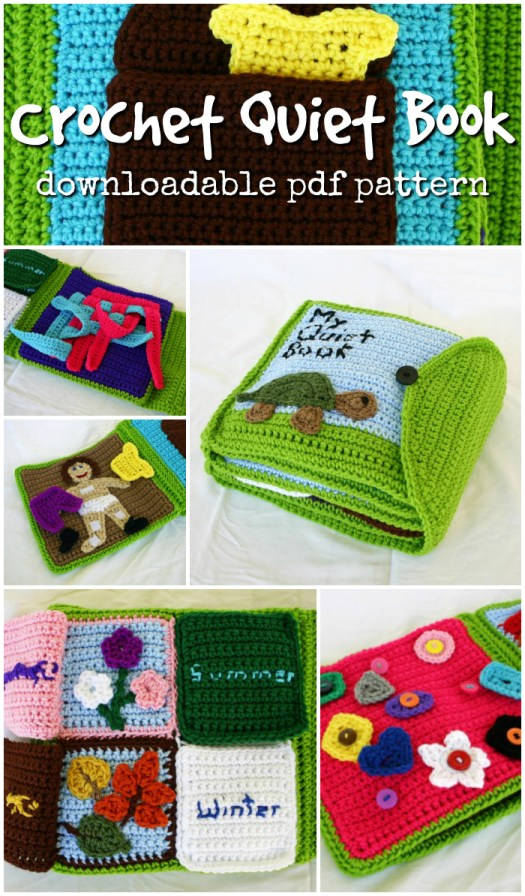 Fun idea for kids! A crochet pattern for a quiet book for kids! Lots of interesting things to play with to occupy a toddler! #crochetpattern #crochet #pattern #yarn #crafts #crochetfortoddlers #pdf #craftevangelist