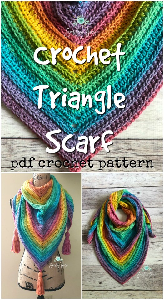 Easy beginner crochet triangle scarf pattern! Love this brightly coloured simple crochet pattern for this stylish scarf! #crochetpattern #crochet #pattern #scarf #crochetscarf #trianglescarf #yarn #crafts #craftevangelist
