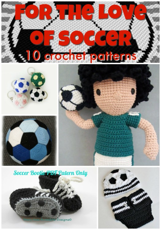 10 soccer themed crochet patterns! Which one should I make for my soccer loving kid! Love these great ideas! #crochet #crochetpattern #pattern #yarn #crafts #craftevangelist #patternroundup