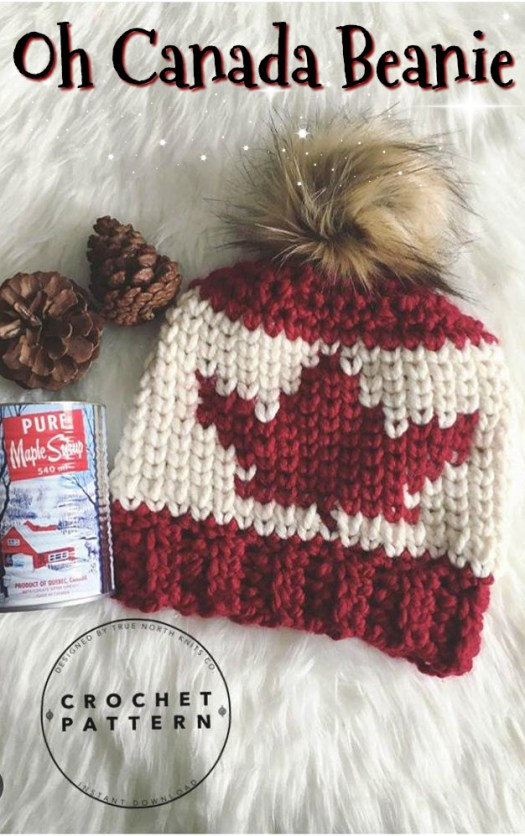 This beanie is CROCHETED!!! What a great pattern to celebrate Canada day and great for all winter! Perfect crochet winter hat pattern! Love this waistcoat stitch! #crochet #knitlook #crochetpattern #crochethatpattern #hatpattern #handmade #yarn #crafts #beaniepattern #crochetbeanie #waistcoatstitch #craftevangelist