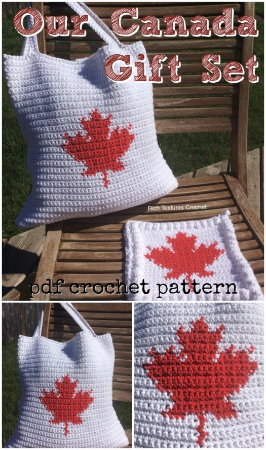 Our Canada Gift set tote bag and dishcloth crochet pattern with Canada Maple leaves pattern. Great festive Canadian pattern! #crochet #crochetpattern #canadaday #yarn #crafts #tote #handmadegifts #dishcloth #craftevangelist