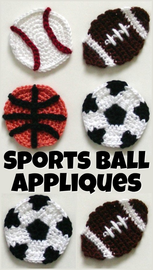Four simple sports appliques crochet patterns. They would make fun coasters or additions to a blanket to make it sports themed! #crochet #crochetpattern #appliquepattern #pattern #sports #soccer #basketball #baseball #football #yarn #crafts #craftevangelist