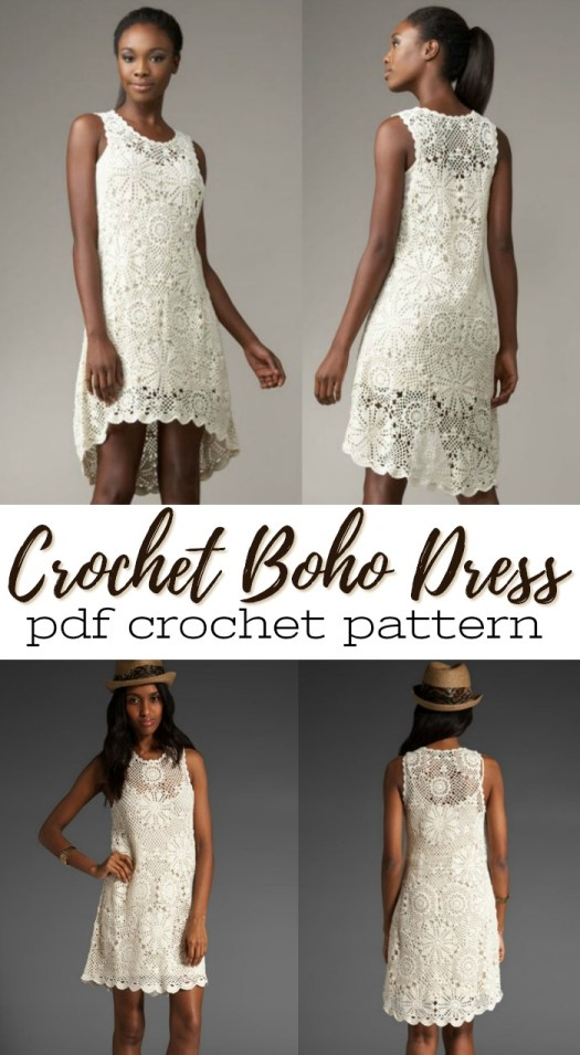 Gorgeous crocheted boho dress pattern! Love these circular motifs that come together into this beautiful dress! #crochetpattern #crochet #crochetdress #dresspattern #pattern #yarn #crafts #craftevangelist