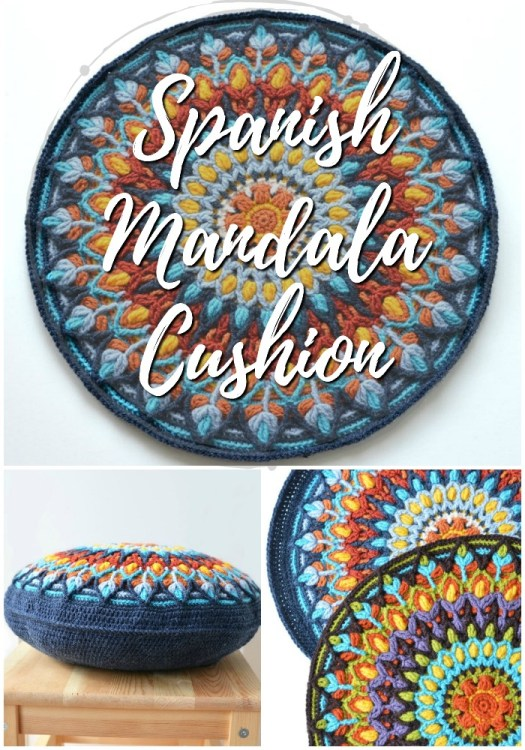 Stunning Spanish Mandala Crochet pattern to use for a cushion! I love this gorgeous mandala pattern! #crochet #pattern #crochetpattern #mandala #crochetmandala #yarn #crafts #pillow #crochetpillow #craftevangelist