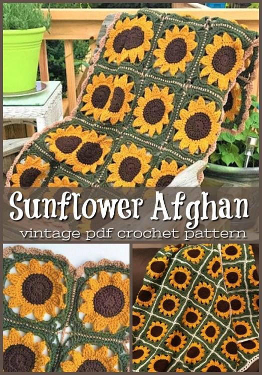 Vintage Sunflower Afghan Blanket Crochet Pattern