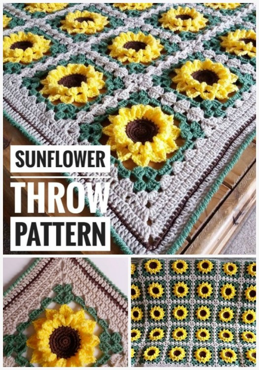 Sunflower Throw Blanket Crochet Pattern
