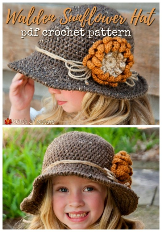Sunflower wide-brim sun hat crochet pattern