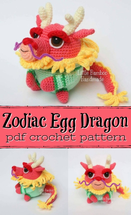 Zodiac Egg Dragon Amigurumi Crochet pattern. Perfect fun dragon stuffed toy to crochet! What a fun pattern!