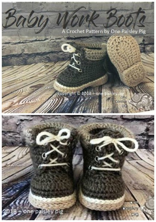 How fun are these Baby Work Boots? I love the heel detail! #crochetpattern #crochetslippers #crochetbooties #crochetbabybooties #crochetbabyshoes #yarn #crafts #pattern #craftevangelist