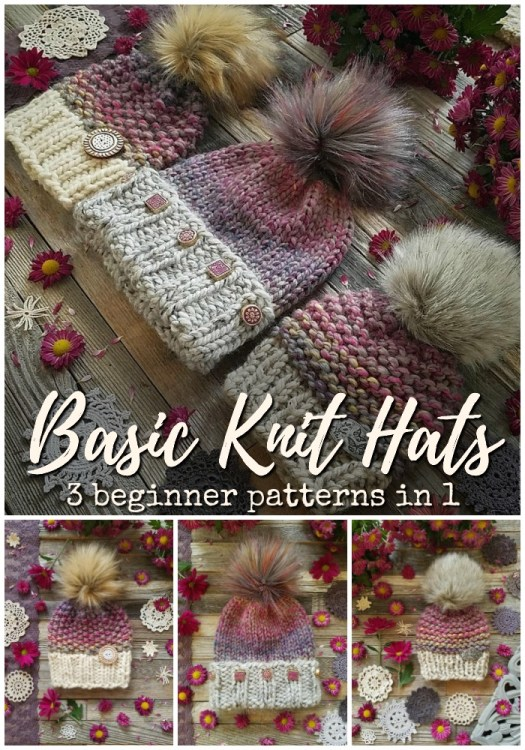 Beginner knitting pattern with three different patterns in one! Great deal on these three classic knitting patterns with options to knit in the round or flat! Love these simple, trendy beginner-friendly knit hat patterns! #knitting #knithat #knithatpattern #knittingpattern #beginnerknittingpatterns #yarn #crafts #craftevangelist