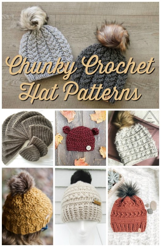 Eight great chunky crocheted winter hat patterns. I can't wait to crochet one of these fantastic beanies for fall! #crochet #crochetpattern #crochethat #yarn #crafts #craftevangelist