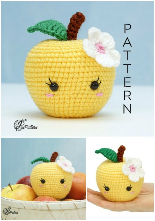 Love this adorable amigurumi apple crochet pattern! Perfect teacher gift or for kids food! How sweet is she with her pretty eyelashes and cute flower! #crochetpattern #amigurumipattern #yarn #crafts #craftevangelist