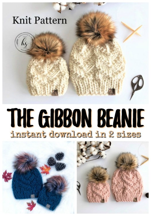 The Gibbon Beanie, a beautiful textured chunky knit hat pattern in 2 sizes, perfect for mommy and me knit hats! These knit up quickly with super bulky yarn! Great for markets! #knitting #knittingpattern #knithat #knithatpattern #yarn #crafts #craftevangelist