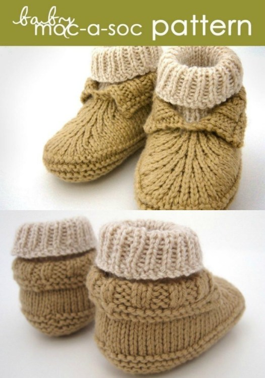 Knitting pattern for baby slippers. Lovely Nordic inspired folded cuff knitting pattern for baby booties with built in sock. #knittingpattern #knitbabybooties #knitbabyslippers #knitbabyshoes #knitbabysocks #babyslippers #babybooties #yarn #crafts #craftevangelist