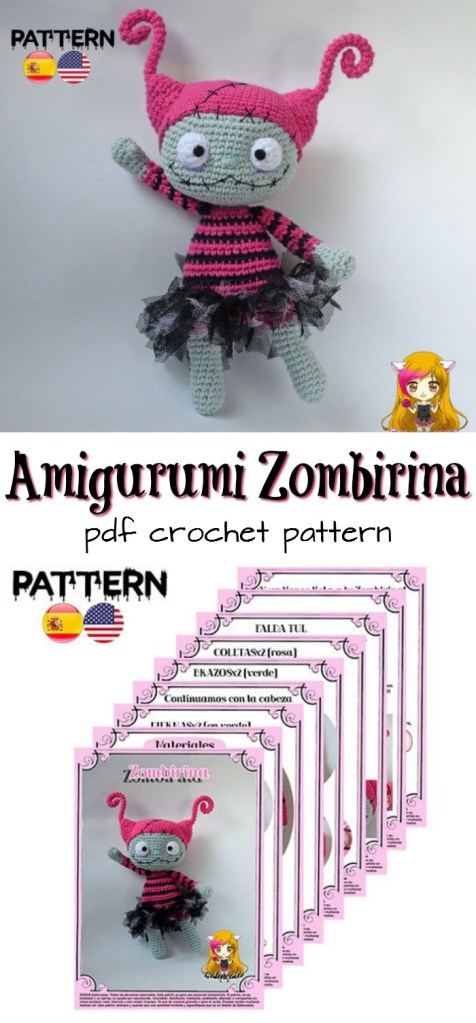 "Super cute little amigurumi zombie ballerina crochet pattern ""Zombirina"" --- so much fun! #crochetpattern #zombies #halloweencrochet #amigurumipattern #yarn #crafts #craftevangelist"